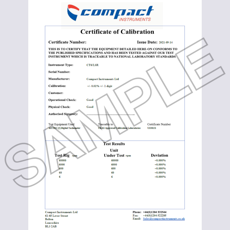 Compact Instruments Certificate of Calibration