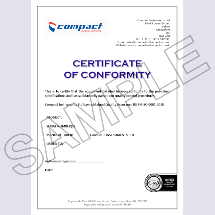Compact Instruments Certificate of Conformity